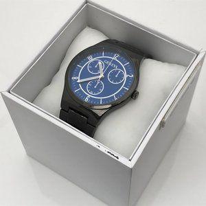 Geneva Men Watch Black Tone Blue Face Analog Wrist